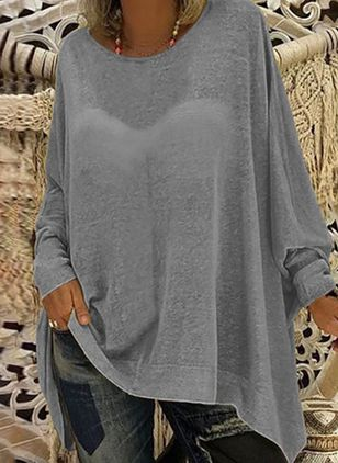 Plus Size Solid Casual Round Neckline Long Sleeve Blouses (6000182)