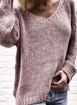 V-Neckline Solid Loose Long Shift Sweaters Sweaters
