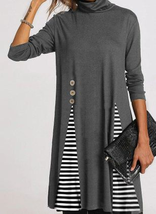 Casual Stripe Tunic High Neckline A-line Dress (108858262)