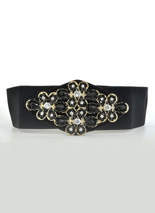 Leatherette Rhinestones Solid Belts