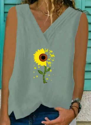 Floral V-Neckline Sleeveless Casual T-shirts (4046934)