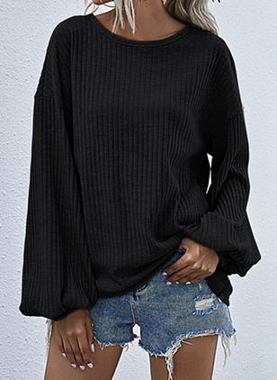 Round Neckline Solid Casual Loose Regular Shift Sweaters (106153847)