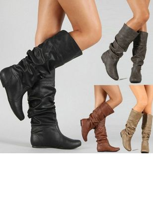 Ruffles Mid-Calf Boots Low Heel Shoes