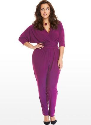 Polyester Solid Half Sleeve Flare Sleeve Jumpsuits & Rompers