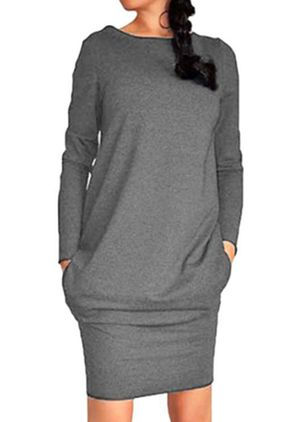 Casual Solid Pencil Round Neckline Bodycon Dress (107151429)