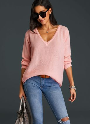 V-Neckline Solid Loose Shift Sweaters