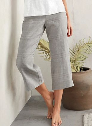 Casual Loose Pockets Mid Waist Polyester Pants (4088995)
