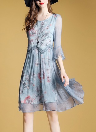 Floral Skater Round Neckline Above Knee A-line Dress (1163478)