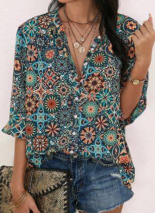 Floral Casual Collar Half Sleeve Blouses (1522231)