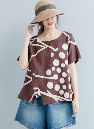 Color Block Cotton Round Neckline Short Sleeve Blouses