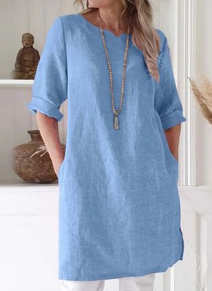 Basic Solid Tunic Round Neckline Shift Dress (5999934)