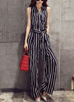 Chiffon Stripe Sleeveless Casual Jumpsuits & Rompers