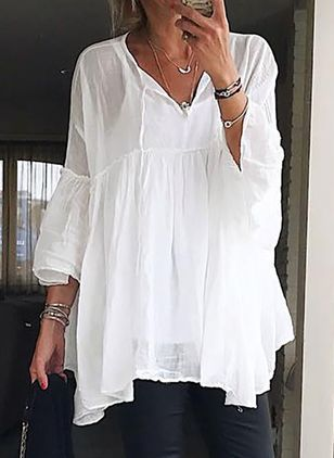 Solid Casual V-Neckline 3/4 Sleeves Blouses (1500632)