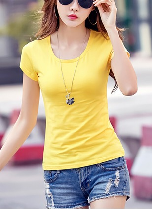 Cotton Solid Round Neck Cap Sleeve T-shirts