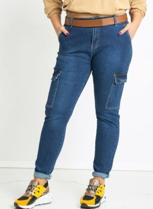 Alldaglig Skinny Normal midja Denim Jeans (104148021)