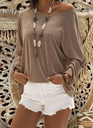 Round Neckline Solid Casual Loose Regular Shift Sweaters (1240659)