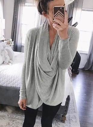 Solid Draped Neckline Long Sleeve Blouses