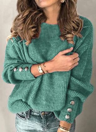 Round Neckline Shift Sweaters (146891364)