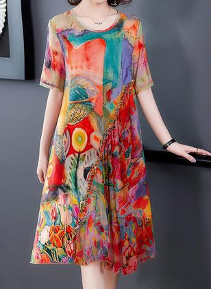 Casual Floral Tunic Round Neckline Shift Dress (100546596)