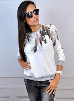 Polyester Floral Round Neck Long Sleeve Casual T-shirts &  ...