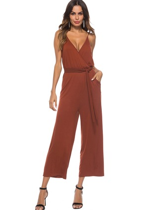Polyester Solid Sleeveless Jumpsuits & Rompers