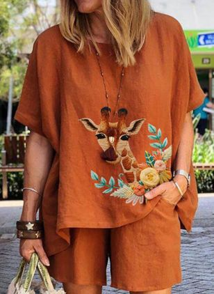 Animal Casual Round Neckline Half Sleeve Blouses (147495327)