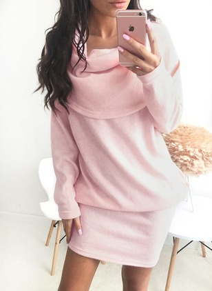 Polyester Solid Long Sleeve Above Knee Casual Dresses  ...