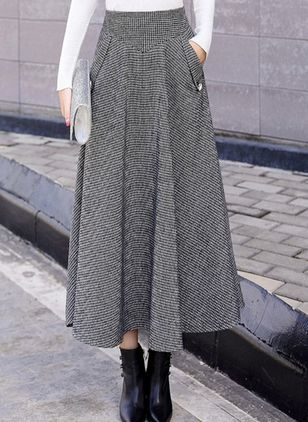 Solid Maxi Casual Pockets Skirts (109555661)