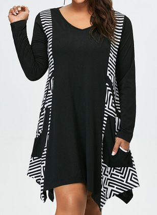 Geometric Long Sleeve Above Knee A-line Dress (1273506)