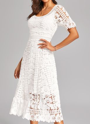 Casual Solid Lace Round Neckline X-line Dress (1198849)