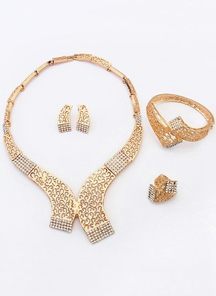 Round No Stone Necklace Earring Bracelet Ring Jewelry Sets