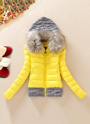 Cotton & Cotton Blend Long Sleeve Hooded Zipper Down Coats Coats