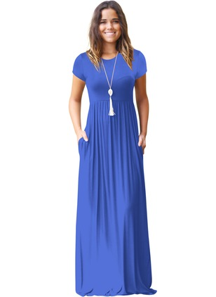 Solid Short Sleeve Maxi A-line Dress