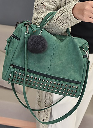 Shoulder Totes Fashion PU Studded Zipper Double Handle Bags