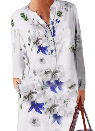 Casual Floral Tunic V-Neckline Shift Dress (101985772)