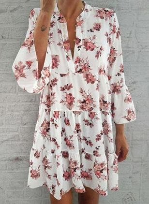 Casual Floral Tunic V-Neckline Shift Dress (4348777)
