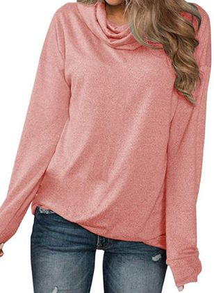 Solid Draped Neckline Long Sleeve Casual T-shirts (107520107)
