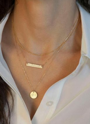 Casual Round No Stone Pendant Necklaces (104135149)