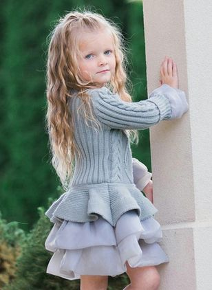 Girls' Sweet Solid Daily Long Sleeve Dresses