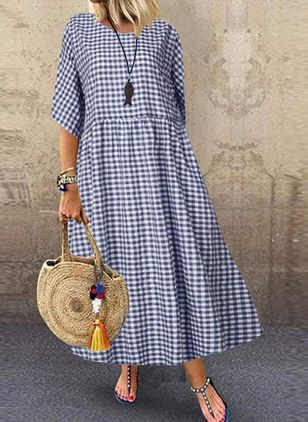 Casual Plaid Tunic Round Neckline A-line Dress (4126835)