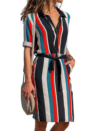 Casual Color Block Collar Knee-Length X-line Dress (1511155)