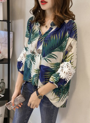 Floral Cotton Collar 3/4 Sleeves Blouses
