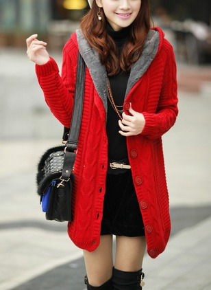 Faux Fur Long Sleeve Hooded Buttons Others Coats