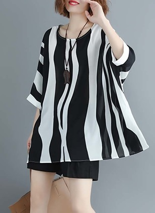 Chiffon Stripe Round Neck 3/4 Sleeves T-shirts