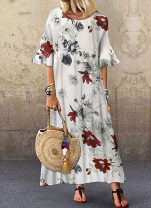 Casual Floral Tunic Round Neckline Shift Dress (4363299)