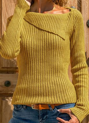 Draped Neckline Solid Casual Loose Regular X-line Sweaters (5502038)
