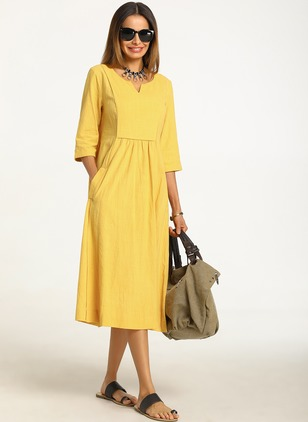 Cotton Solid 3/4 Sleeves Midi A-line Dress