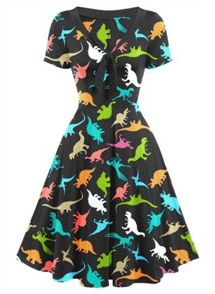 Casual Animal Skater Round Neckline X-line Dress (111798717)