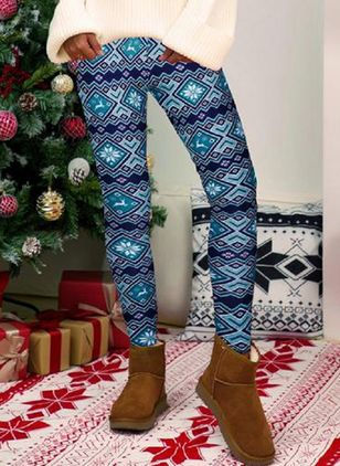 Christmas Skinny Pattern Mid Waist Polyester Pants (131286588)