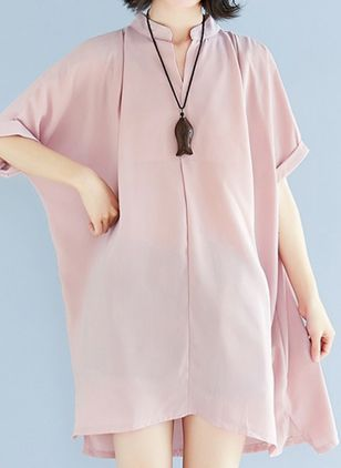 Plus Size Casual Solid Tunic V-Neckline A-line Dress (6046910)